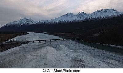 Frozen Knik River Chugach Range Highway 1 Alaska - Aerial...