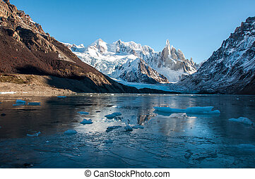 Frozen lake at the Cerro Torre, Fitz Roy, Argentina.
