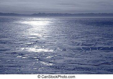 Frozen Lake Baikal in winter.