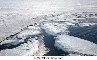 Frozen Lake Baikal. Close up.