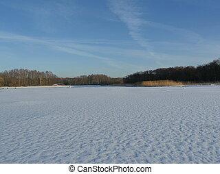 frozen lake clean flat winter landscape