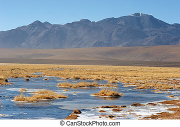 The Atacama Desert is a volcanic plateau in Chile (South America) west of the Andes mountains.