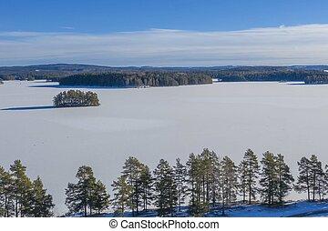 Frozen lake in Sweden