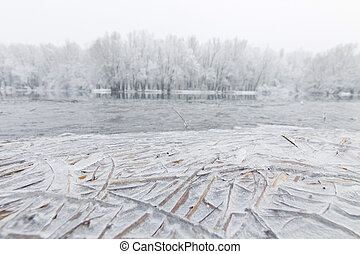 Frozen lake in winter, Winter lake scene