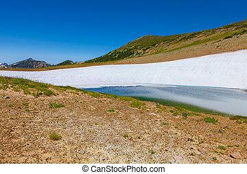 Frozen lake melting Mount Rainier National Park