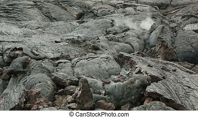 Frozen lava flow resulting from eruption Flat Tolbachik in...