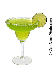 Frozen margarita with lime slice isolated on white background with clipping path.
