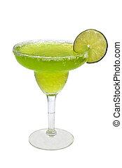 Frozen Margarita Isolated - Frozen margarita with lime slice...