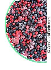 Frozen mixed fruit in bowl - berries