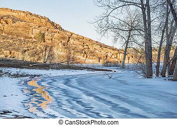 frozen mountain lake in Colorado