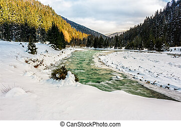 frozen mountain  river in forest