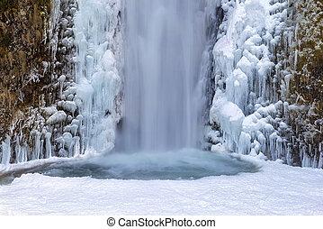Frozen Multnomah Falls Closeup