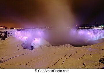 Frozen Niagara Falls at Night