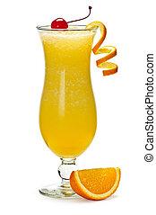 Frozen orange drink - Glass of orange drink in hurricane...
