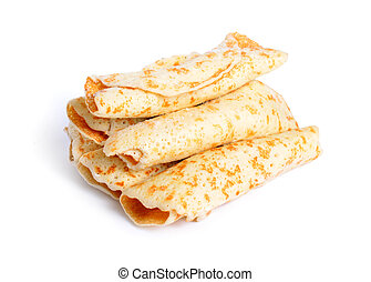 Frozen pancakes with stuffed. Isolated on white background.