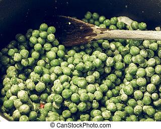 Frozen Peas vegetables vintage desaturated