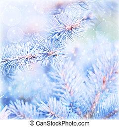 Frozen pine tree background
