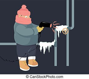 Frozen pipes - A person attempting to unfreeze frozen water...