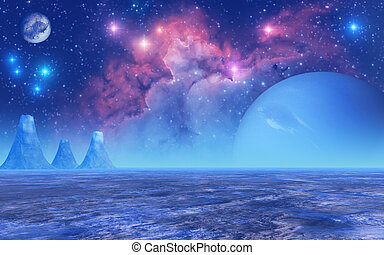 Frozen Planet - This image shows a frozen planet with...