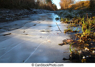 Frozen puddle in December