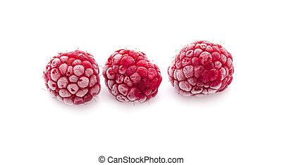 Frozen Raspberries Isolated On White