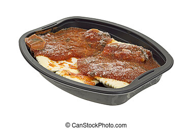 Frozen ravioli and tomato sauce tv dinner