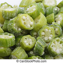Frozen Raw Okra Slices, Close Up