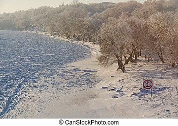 Frozen river beach