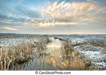 Frozen river Drentsche Aa in northern part of the province...
