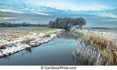 Frozen river Drentsche Aa in province of Drenthe - Frozen...