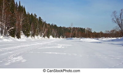 Frozen river - Panorama of frozen  forest river