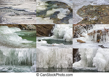 frozen river ice textures - collection of ice and water...