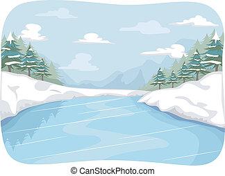 Frozen River - Illustration Featuring a Frozen River
