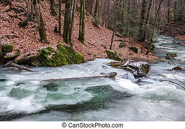 frozen river in forest with no snow. undefined nature...