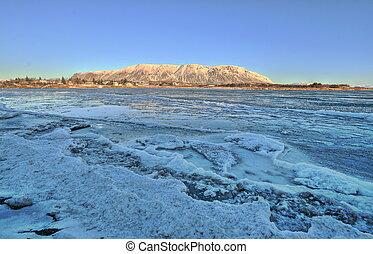 Frozen river in Selfoss, Iceland