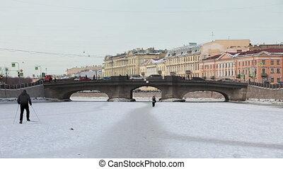 frozen river in St. Petersburg
