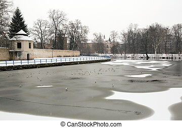 Frozen river in the old city of Ceske Budejovice