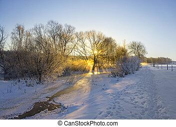 frozen river in winter landscape
