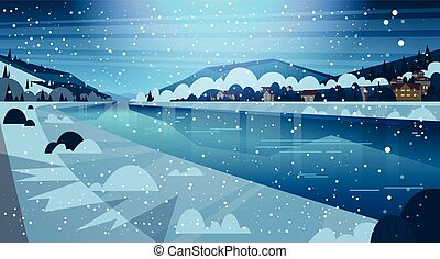 Frozen River Night View With Small Country Houses On...