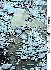 Frozen riverbed in winter
