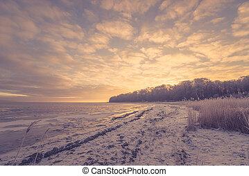 Frozen sea in the morning sunrise