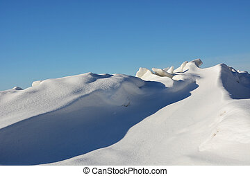 Frozen sea shore at the winter season