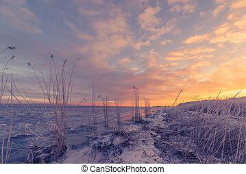 Frozen sea shore in the sunrise