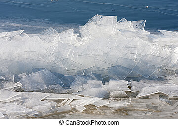 Frozen sea with stack of ice floes