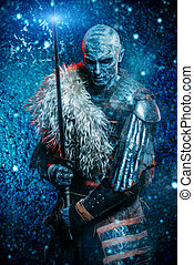 frozen snow warrior - Halloween. Frozen snow covered zombie...