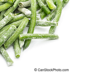 Frozen sticks of asparagus. Isolated. Shallow depth of field