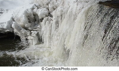 frozen winter river waterfall water closeup and murmur...