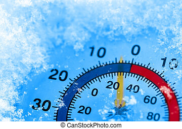 Frozen thermometer -  Thermometer showing winter cold