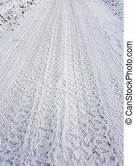 Frozen tire tracks