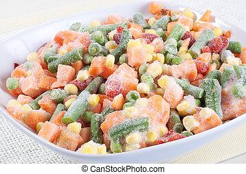 Frozen vegetables in a bowl